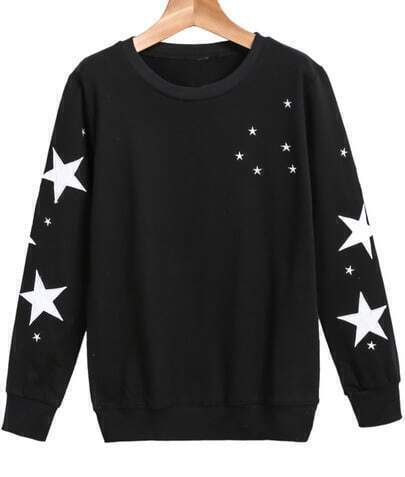 Black Long Sleeve Stars Print Loose Sweatshirt