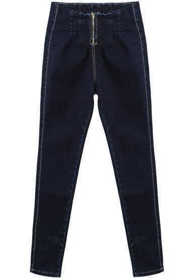 Blue Zipper Slim Denim Pant