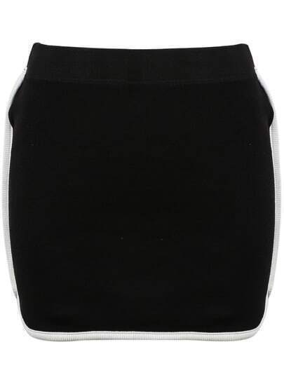 Black Contrast Trims Bodycon Skirt