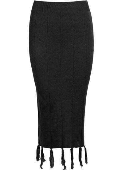 Black Knit Bodycon Tassel Skirt