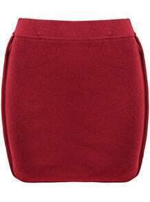 Red Knit Bodycon Skirt