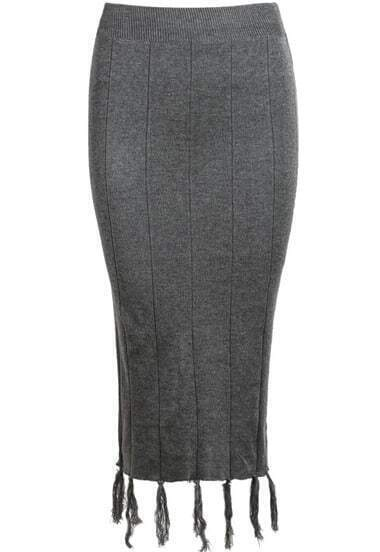 Grey Knit Bodycon Tassel Skirt