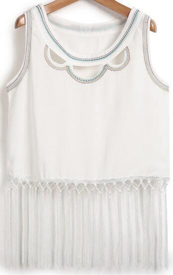 White Sleeveless Hollow Embroidered Tassel Vest