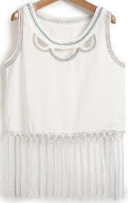 White Sleeveless Hollow Embroidered Tassel Vest