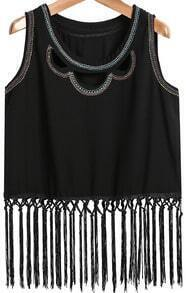 Black Sleeveless Hollow Embroidered Tassel Vest
