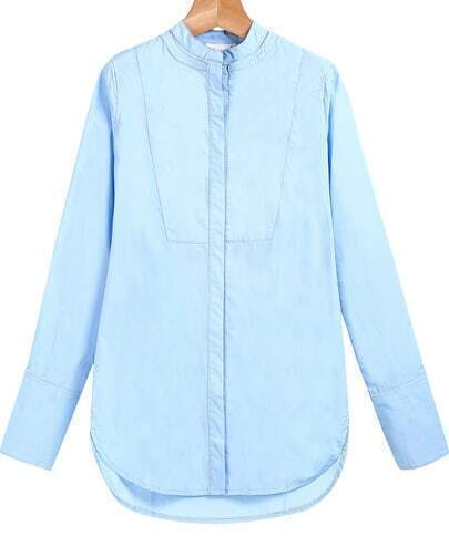 Blue Long Sleeve Loose Dipped Hem Blouse