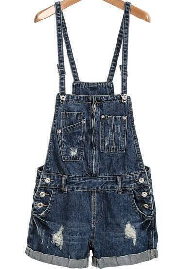 Blue Strap Ripped Denim Jumpsuit