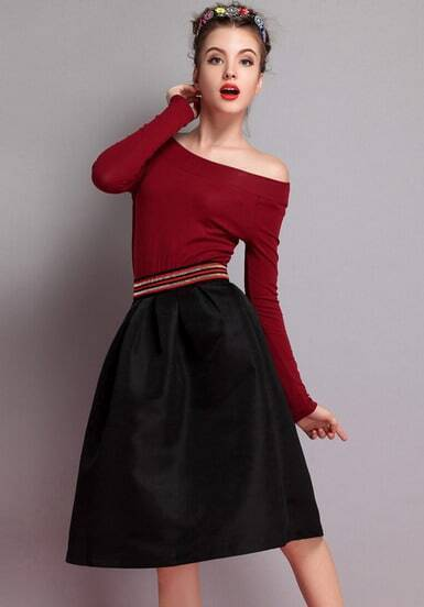 Black Slim Flare Skirt
