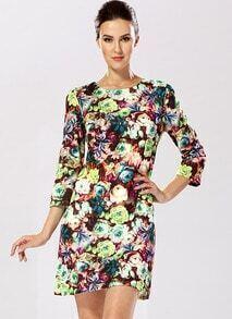 Multicolor Round Neck Vintage Floral Dress