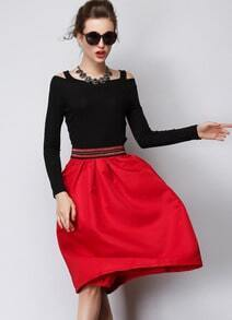 Red Slim Flare Skirt