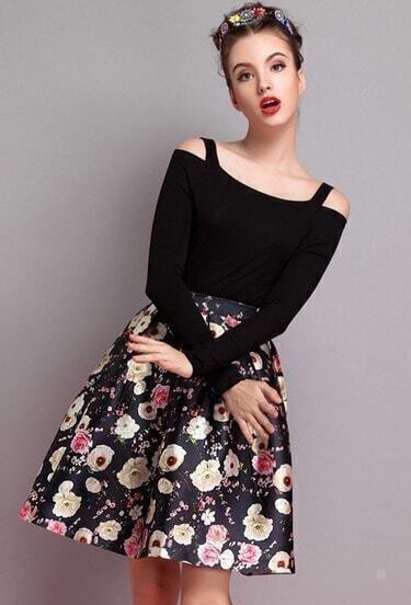 Black Floral Flare Skirt
