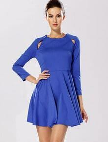 Blue Long Sleeve Hollow Pleated Dress