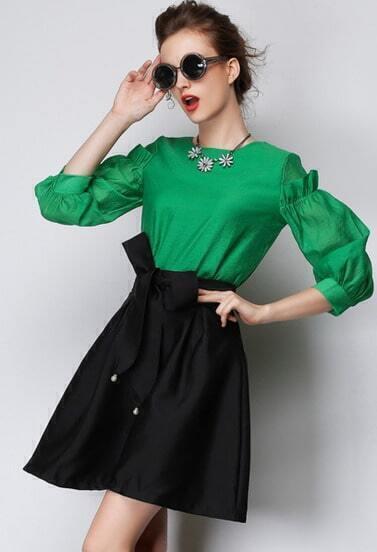 Black High Waist Flare Skirt