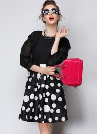 Black High Waist Polka Dot Flare Skirt