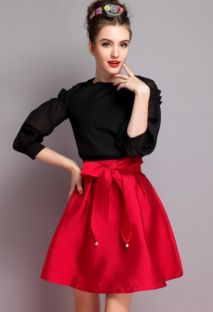 Red High Waist Flare Skirt -SheIn(Sheinside)