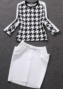 Black White Houndstooth Top With Pockets Skirt