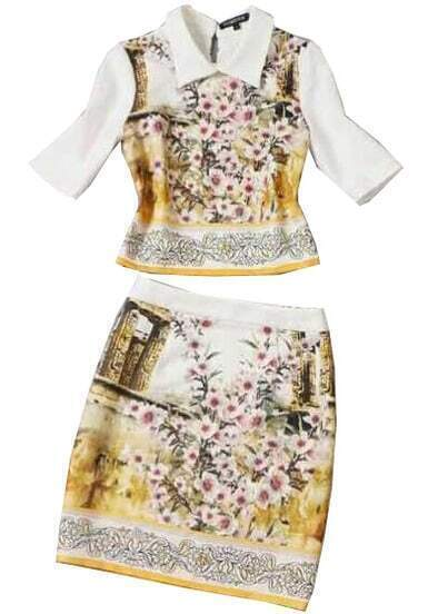 White Lapel Half Sleeve Floral Top With Bodycon Skirt