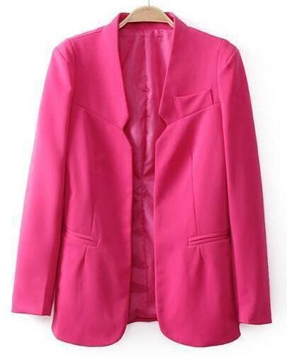 Pink Long Sleeve Shoulder Pads Pockets Blazers