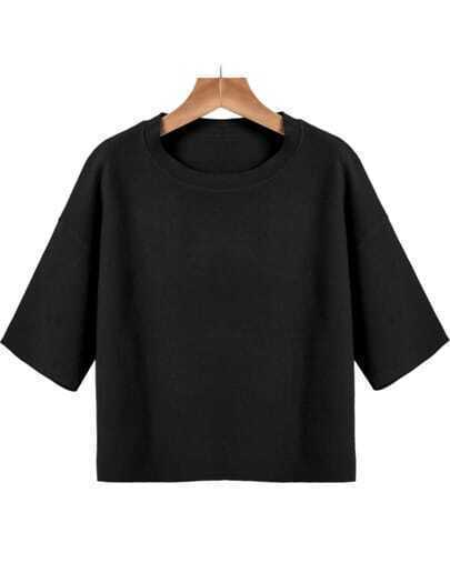 Black Round Neck Short Sleeve Knit Sweater