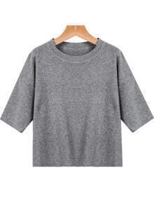 Grey Round Neck Short Sleeve Knit Sweater
