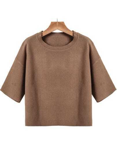 Khaki Round Neck Short Sleeve Knit Sweater