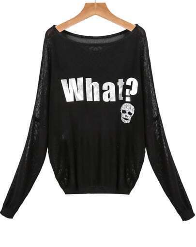 Black Long Sleeve Letters Print Knit Sweater