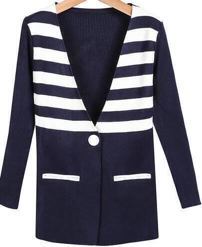 Blue V Neck Long Sleeve Pockets Knit Cardigan