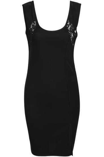 Black Sleeveless Contrast Lace Hollow Bodycon Dress