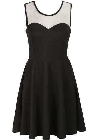 Black Sleeveless Contrast Sheer Mesh Yoke Bow Dress