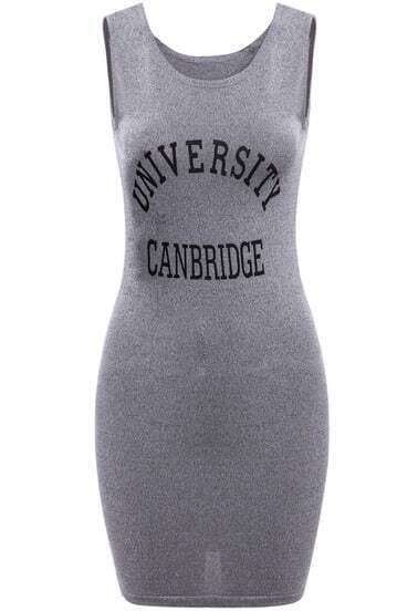 Grey Sleeveless Letters Print Bodycon Dress