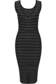 Black Sleeveless Striped Slim Dress