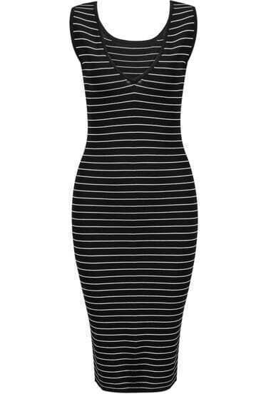 Black Sleeveless Striped Slim Dress