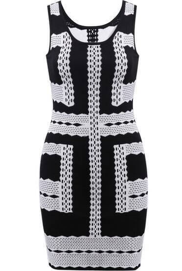 Black Sleeveless Geometric Pattern Slim Dress