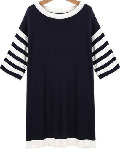Blue Contrast Striped Short Sleeve Dress