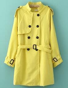 Yellow Long Sleeve Belt Slim Trench Coat