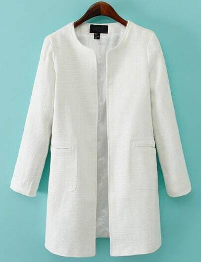 White Long Sleeve Pockets Loose Coat