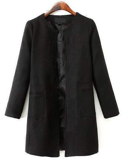 Black Long Sleeve Pockets Loose Coat