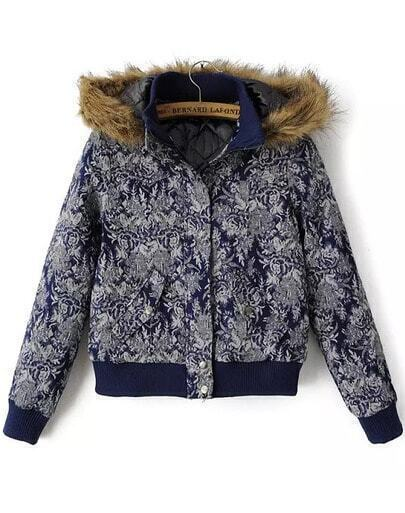 Blue Hooded Long Sleeve Floral Coat