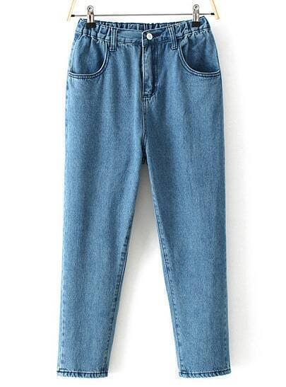Blue Elastic Waist Pockets Denim Pant