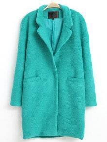 Green Lapel Long Sleeve Loose Pockets Coat