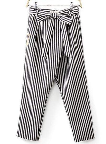 Black White Striped Bow Belt Pant