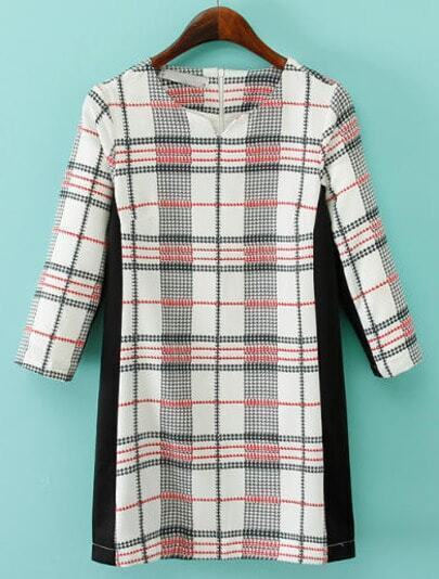 Black White V Neck Plaid Straight Dress