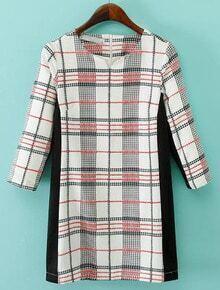 Black White V Neck Plaid Straight Dress