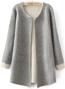Grey Long Sleeve Slim Knit Cardigan