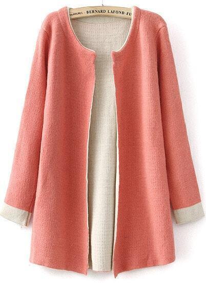 Pink Long Sleeve Slim Knit Cardigan