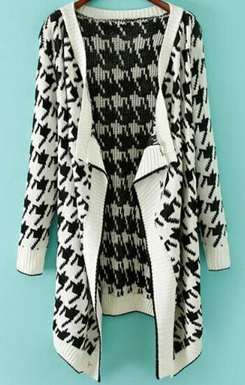 White Long Sleeve Houndstooth Knit Cardigan