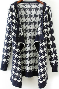 Navy Long Sleeve Houndstooth Knit Cardigan