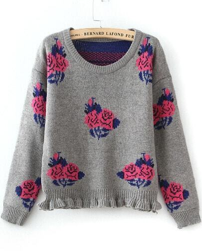 Grey Long Sleeve Rose Pattern Knit Sweater