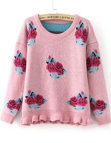 Pink Long Sleeve Rose Pattern Knit Sweater