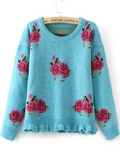 Blue Long Sleeve Rose Pattern Knit Sweater